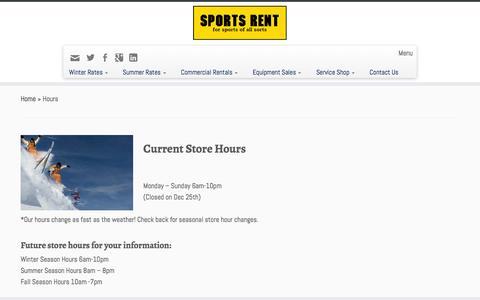 Screenshot of Hours Page sportsrent.ca - Hours - Sports Rent - captured Feb. 27, 2016
