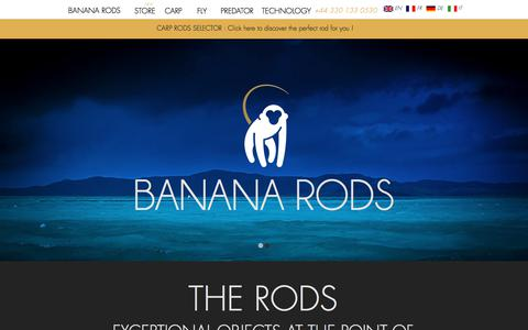 Screenshot of Home Page bananarods.com - Banana Rods - Manufacture of Fishing Rods in France - captured Aug. 1, 2018