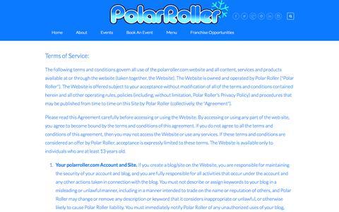 Screenshot of Terms Page polarroller.com - Terms — Polar Roller - captured Sept. 30, 2014