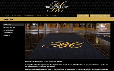 Screenshot of Jobs Page thebike.com - The Bicycle Casino Los Angeles CA - The Bicycle Casino LA - captured Sept. 19, 2014