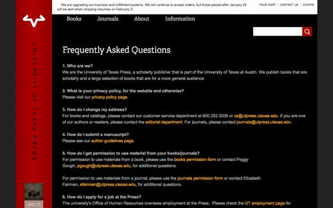Screenshot of FAQ Page utexas.edu - Frequently Asked Questions | The University of Texas Press - captured Jan. 20, 2017