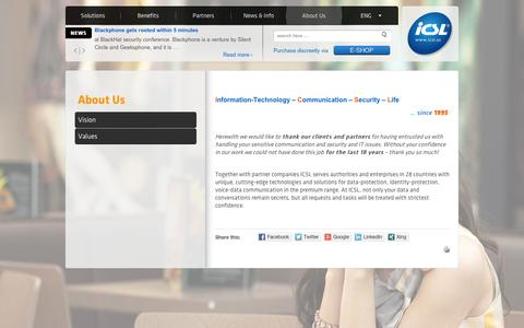Screenshot of About Page icsl.at - About Us - ICSL - captured Sept. 30, 2014