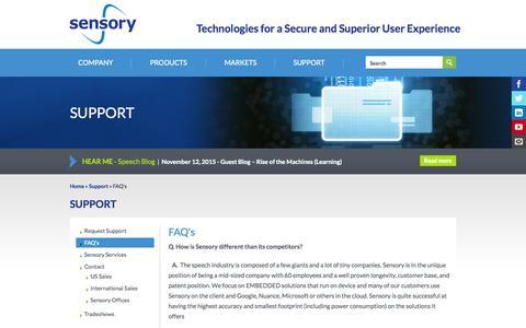 Screenshot of FAQ Page sensory.com - FAQ's | Sensory - captured Nov. 18, 2015