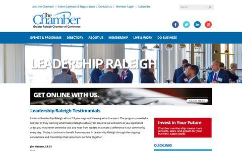 Screenshot of Testimonials Page raleighchamber.org - Testimonials - Raleigh Chamber of Commerce | Raleigh, NC - captured Dec. 14, 2018