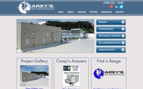 Screenshot of Home Page careyscentral.com - Carey's Small Arms Range Ventilation | Gun range ventilation leaders - captured Oct. 16, 2016