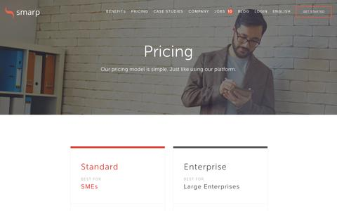 Screenshot of Pricing Page smarp.com - Pricing | Smarp Employee Advocacy Solution - captured Jan. 13, 2016