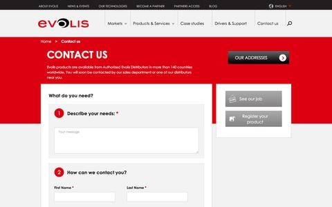 Screenshot of Contact Page evolis.com - Contact us   Evolis - captured July 21, 2018