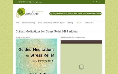 Screenshot of Products Page sundarayogatherapy.com - Guided Meditations for Stress Relief MP3 Album - Sundara Yoga Therapy - captured Sept. 30, 2014