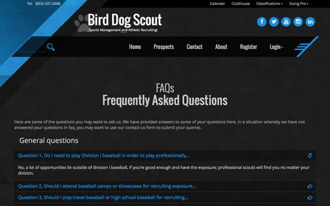 Screenshot of FAQ Page birddogscout.com - FAQs - captured July 29, 2016