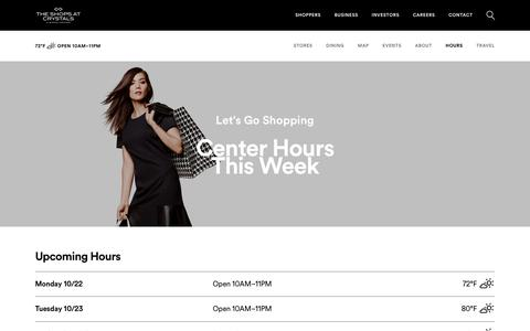 Screenshot of Hours Page simon.com - Hours for The Shops at Crystals - A Shopping Center in Las Vegas, NV - A Simon Property - captured Oct. 22, 2018