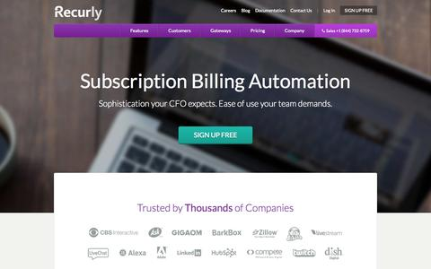 Screenshot of Home Page recurly.com - Subscription Billing and Recurring Billing Experts | Recurly - captured Dec. 13, 2014