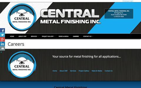 Screenshot of Jobs Page cenmet.com - Careers - Central Metal Finishing - CENMET - captured Jan. 26, 2016