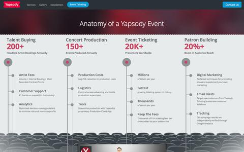 Screenshot of Services Page yapsody.com - Event Production | Concert Services | Event logistics | Talent Buying - captured March 15, 2018