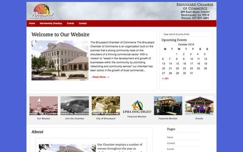 Screenshot of Home Page About Page broussardchamber.net - Broussard Chamber of Commerce - - captured Oct. 11, 2014