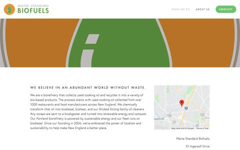 Screenshot of About Page mainestandardbiofuels.com - About Us — Maine Standard Biofuels - captured Dec. 7, 2018