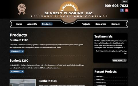Screenshot of Products Page sunbeltflooring.com - Sunbelt Flooring | Products - captured Oct. 7, 2014