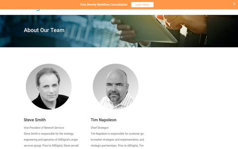 Screenshot of Team Page alldigital.com - AllDigital Management Team - captured July 8, 2017