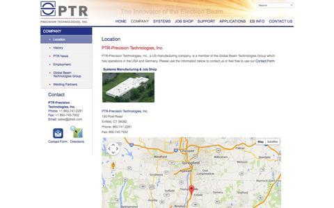 Screenshot of Maps & Directions Page ptreb.com - Location | PTR-Precision Technologies, Inc. - captured Oct. 1, 2014