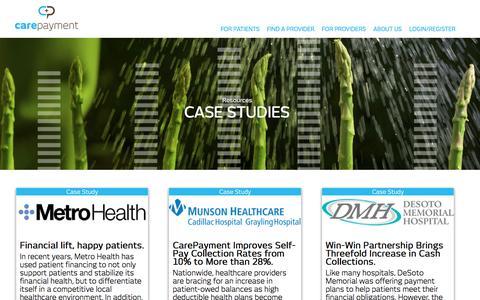 Screenshot of Case Studies Page carepayment.com - Case Studies From Healthcare Providers   CarePayment - captured June 29, 2016