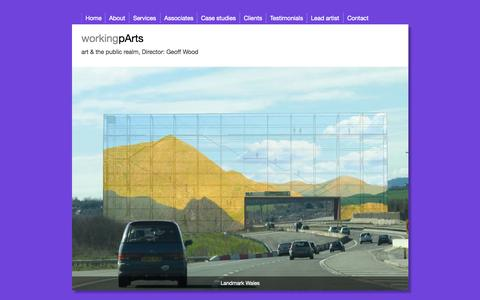 Screenshot of Home Page working-parts.com - working parts, workingpArts, art and the public realm, Geoff Wood - captured Aug. 14, 2015