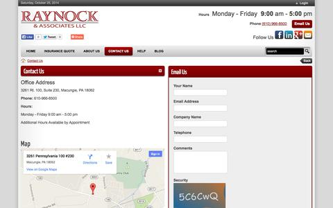 Screenshot of Contact Page Maps & Directions Page raynockassociates.com - Raynock & Associates   GET INSURANCE Auto Homeowners Renters Personal Umbrella Motorcycle Landlords Macungie Coverage Policy  > Contact Us - captured Oct. 25, 2014