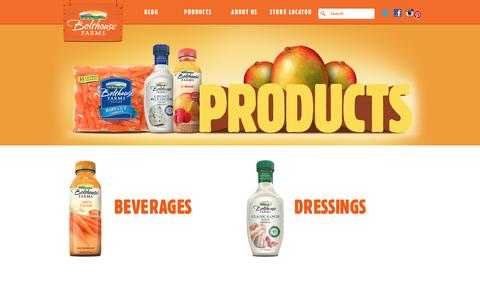 Screenshot of Products Page bolthouse.com - Bolthouse Farms - Products - captured Feb. 7, 2017