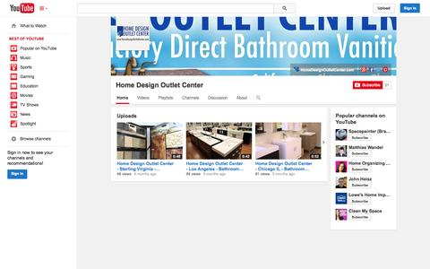 Screenshot of YouTube Page youtube.com - Home Design OutIet Center  - YouTube - captured Oct. 22, 2014