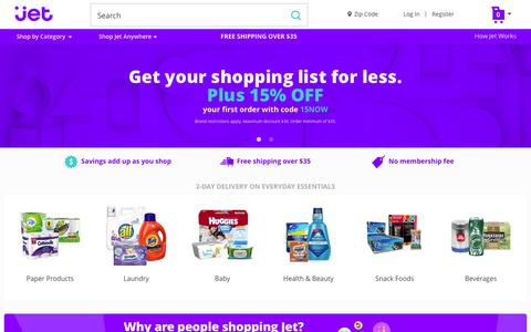 Screenshot of Home Page jet.com - Jet.com - captured Feb. 15, 2016