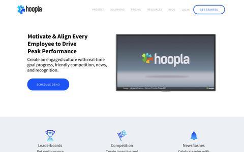 Screenshot of Home Page hoopla.net - Employee Motivation and Engagement Platform - Hoopla - captured Sept. 19, 2018