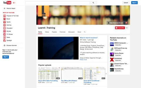 Screenshot of YouTube Page youtube.com - Learnit .Training  - YouTube - captured Oct. 22, 2014