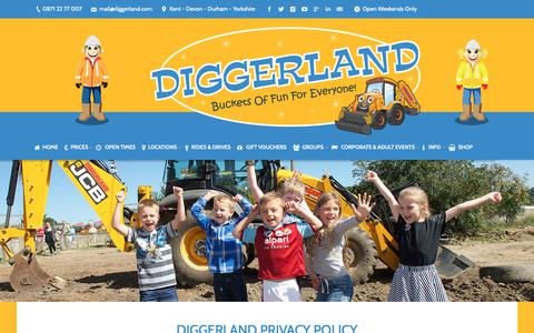 Screenshot of Privacy Page diggerland.com - Privacy Policy - Diggerland - captured Oct. 9, 2018