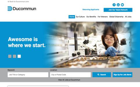 Screenshot of Jobs Page ducommun.com - Ducommun Careers - captured March 11, 2018
