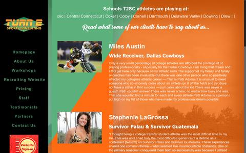 Screenshot of Testimonials Page turn2sportsconsulting.com - Testimonials – Turn 2 Sports Consulting - captured June 17, 2017