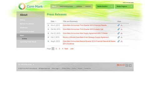 Screenshot of Press Page core-mark.com - News | Core-Mark International Inc. - captured Oct. 29, 2016