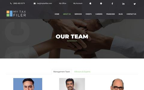 Screenshot of Team Page mytaxfiler.com - MyTaxFiler | Our Team - captured May 24, 2019