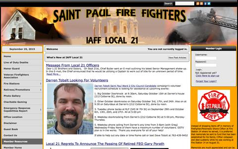 Screenshot of Home Page iafflocal21.org - IAFF Local 21 - captured Sept. 25, 2015