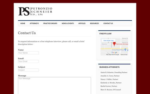Screenshot of Contact Page ps-law.com - Contact Us - PS Law - captured Sept. 28, 2018