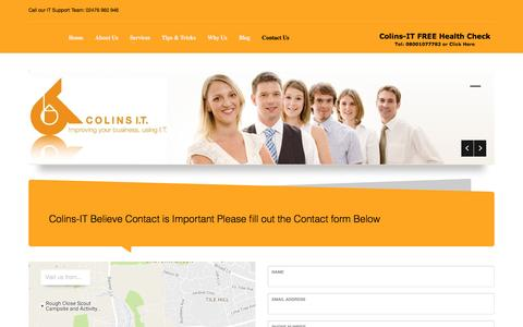 Screenshot of Contact Page colins-it.co.uk - IT Support Coventry, Managed IT Support Coventry - captured Nov. 9, 2016