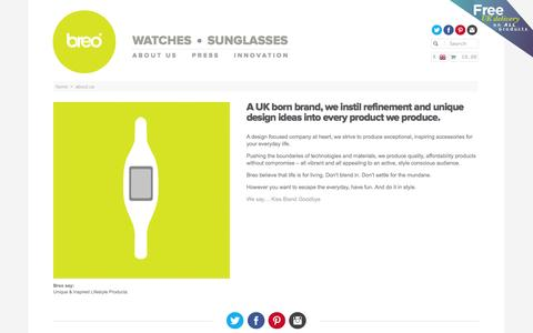 Screenshot of About Page breo.com - About us - Breo Watches & Accessories | Adventure | Breo - captured Sept. 19, 2014