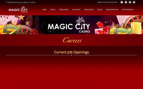 Screenshot of Jobs Page magiccitycasino.com - Careers | Magic City Casino - captured Feb. 19, 2018