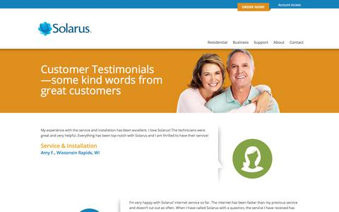 Screenshot of Testimonials Page solarus.net - Customer Testimonials | Solarus Residential - captured Sept. 21, 2018