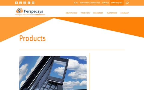 Screenshot of Products Page perspecsys.com - Cloud Protection Solutions, Cloud Security, PRS Server | Perspecsys - captured Oct. 22, 2014