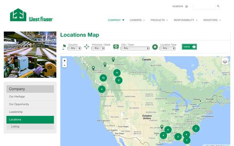 Screenshot of Locations Page westfraser.com - Locations Map | West Fraser - captured Oct. 20, 2018