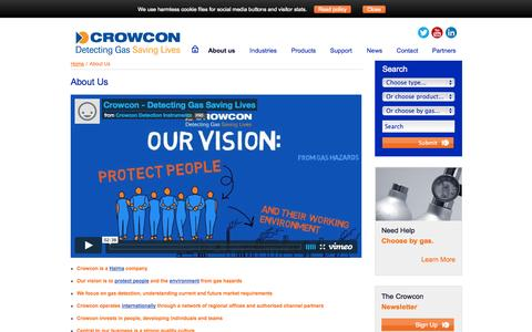 Screenshot of About Page crowcon.com - About us, Crowcon Detection Instruments Ltd, Flammable, Portable, Toxic Gas Detection, Profile - captured Oct. 10, 2014