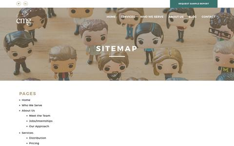 Screenshot of Site Map Page customermarketinggroup.com - Sitemap - CMG - captured July 24, 2018