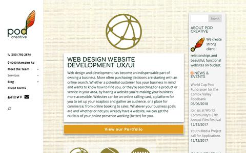 Screenshot of Services Page podcreative.ca - Web Design Website Development UX UI | Pod Creative - captured July 5, 2018