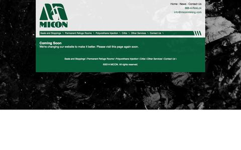 Screenshot of Press Page miconmining.com - News | Micon: the Most Dependable Name in Ground Control - captured Oct. 3, 2014