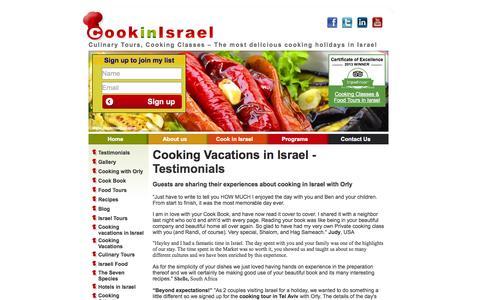 Screenshot of Testimonials Page cookinisrael.com - Testimonials - captured Sept. 18, 2014