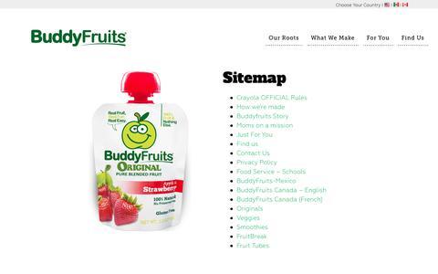 Screenshot of Site Map Page buddyfruits.com - Sitemap Buddyfruits - captured July 30, 2016