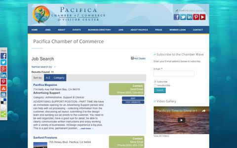 Screenshot of Jobs Page pacificachamber.com - Job Search - Pacifica Chamber of Commerce - Pacifica Chamber of Commerce - captured Oct. 17, 2016